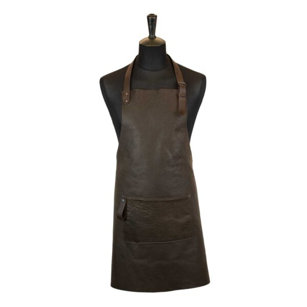 Leather barbecue apron brown